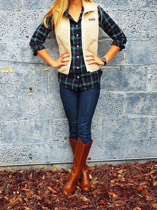 How to wear: tobacco leather knee high boots, navy skinny jeans, navy and green plaid dress shirt, beige fleece gilet