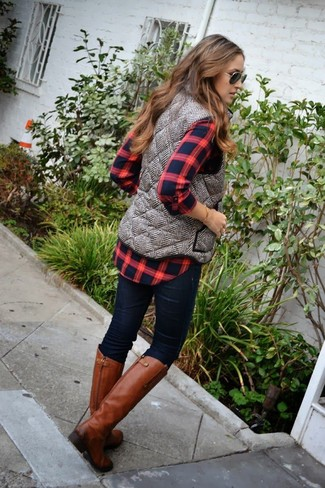 How to wear: tobacco leather knee high boots, navy skinny jeans, red and black plaid button down blouse, grey quilted vest