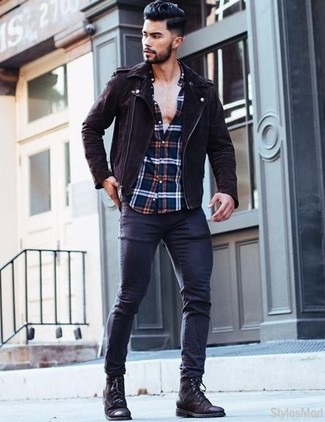 How to wear: black leather casual boots, navy skinny jeans, white and red and navy plaid long sleeve shirt, dark brown suede biker jacket