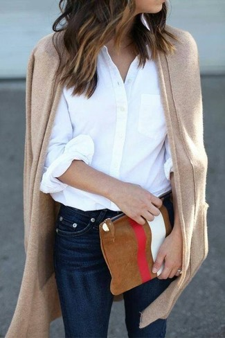How to wear: tobacco print suede clutch, navy skinny jeans, white dress shirt, tan open cardigan