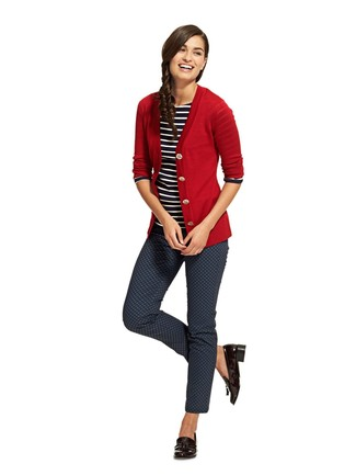 How to wear: black leather tassel loafers, navy print skinny pants, black and white horizontal striped long sleeve t-shirt, red cardigan