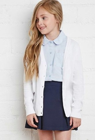 How to wear: navy skirt, light blue long sleeve shirt, white cardigan