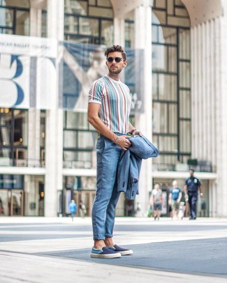 How to wear: black sunglasses, navy canvas slip-on sneakers, multi colored vertical striped crew-neck t-shirt, light blue suit