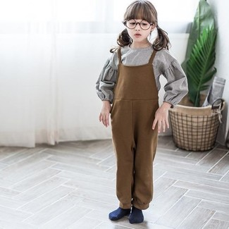 How to wear: navy socks, brown overalls, grey long sleeve shirt