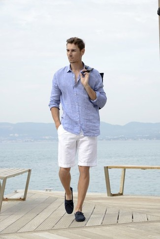 How to wear: navy suede driving shoes, white shorts, light blue linen long sleeve shirt