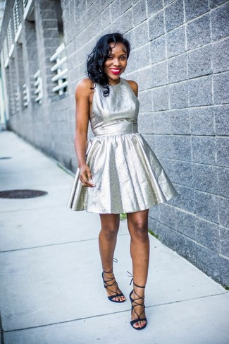 How to wear: navy suede gladiator sandals, silver fit and flare dress