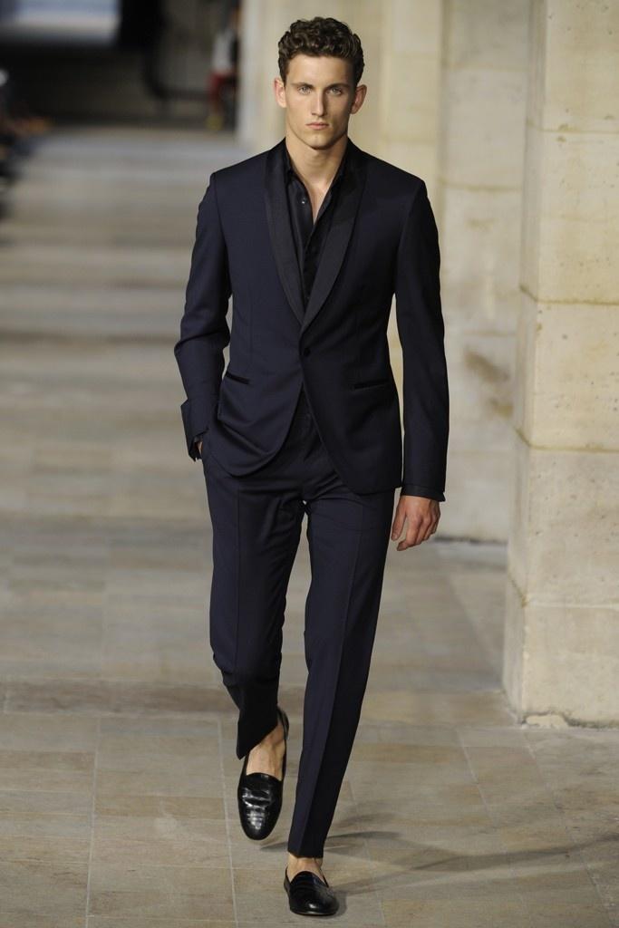 Men's Navy Suit, Black Long Sleeve Shirt, Black Leather Loafers ...