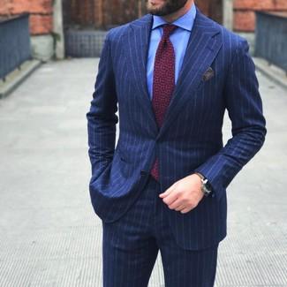 Men's Navy Vertical Striped Suit, Light Blue Dress Shirt, Red Print Tie, Grey Pocket Square