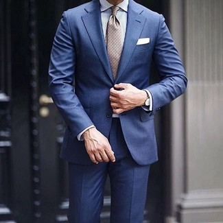 How to wear: navy suit, white and blue vertical striped dress shirt, beige polka dot tie, white pocket square