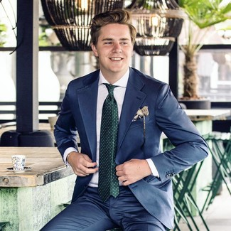 How to wear: navy suit, white dress shirt, dark green polka dot tie, beige print pocket square