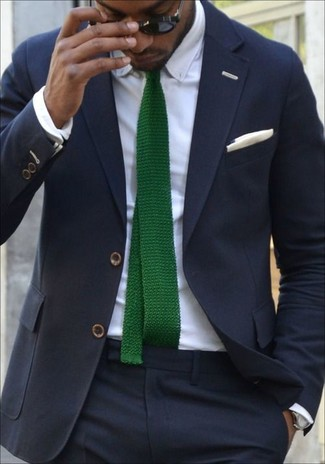 How to wear: navy suit, white dress shirt, green knit tie, white cotton pocket square