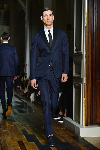 How to wear: navy suit, white dress shirt, navy leather loafers, black tie