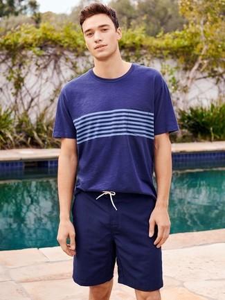 How to wear: navy swim shorts, navy horizontal striped crew-neck t-shirt