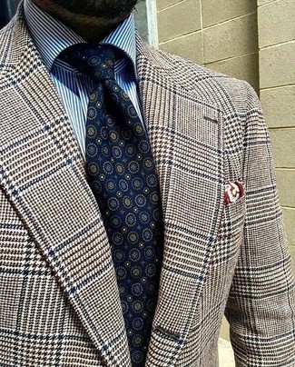 How to wear: burgundy print pocket square, navy print tie, white and blue vertical striped dress shirt, brown houndstooth wool blazer
