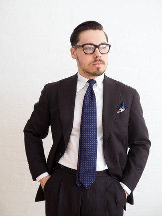 How to wear: white print pocket square, navy print tie, white dress shirt, black suit