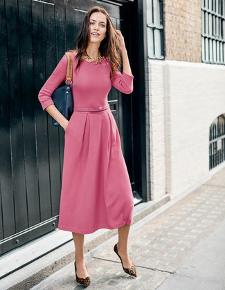 How to wear: gold necklace, navy leather tote bag, brown leopard suede ballerina shoes, pink midi dress