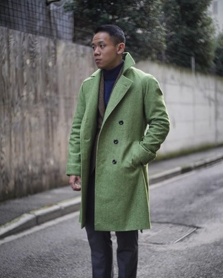 How to wear: charcoal dress pants, navy turtleneck, dark brown plaid wool blazer, green overcoat