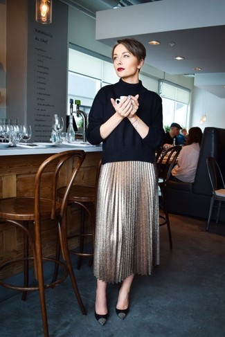 How to wear: navy turtleneck, gold pleated midi skirt, black and gold suede pumps