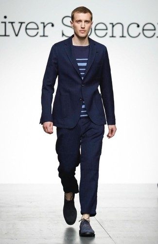 How to wear: navy vertical striped suit, navy horizontal striped crew-neck sweater, navy suede oxford shoes