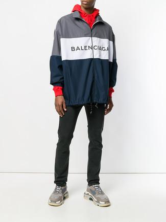How to wear: navy windbreaker, red hoodie, black jeans, brown athletic shoes