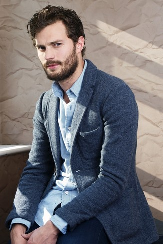 How to wear: navy wool blazer, white and blue gingham long sleeve shirt, navy jeans