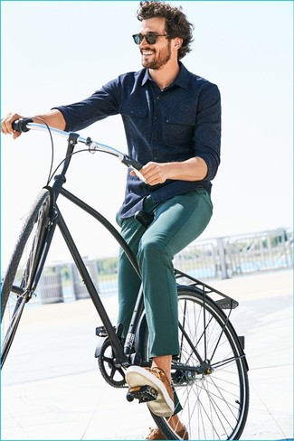 How to wear: navy wool long sleeve shirt, green chinos, brown low top sneakers