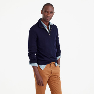 Men's Navy Zip Neck Sweater, Light Blue Chambray Long Sleeve Shirt, Tobacco Chinos