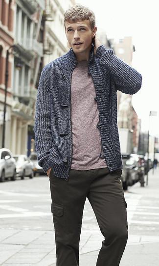 How to wear: navy zip sweater, purple crew-neck t-shirt, charcoal cargo pants