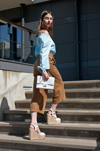 Women's Light Blue Off Shoulder Top, Tobacco Suede Culottes, White Leather Wedge Sandals, White Quilted Clutch