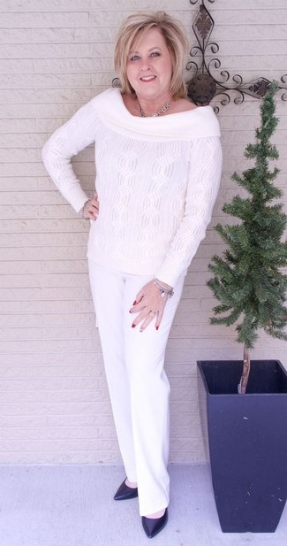 How to wear: white knit off shoulder top, white dress pants, black leather pumps, silver necklace