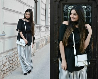 This combo of an Anna Field Long Sleeved Top Black and white and black vertical striped wide leg pants is so easy to create and so comfortable to sport as well! Let's make a bit more effort now and make black suede pumps your footwear choice. This combination is basically a lesson in how to dress for baking hot summer weather.