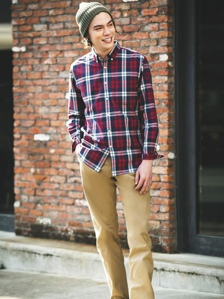 How to wear: olive beanie, khaki chinos, white and red and navy plaid long sleeve shirt