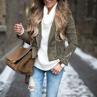 How to wear: olive suede biker jacket, white cowl-neck sweater, light blue ripped skinny jeans, brown leather satchel bag