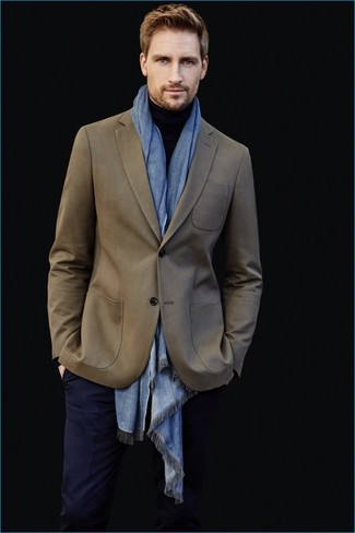 How to wear: olive blazer, black turtleneck, navy dress pants, light blue scarf