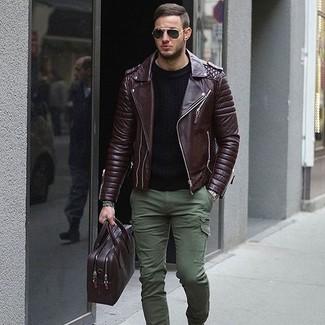 How to wear: dark purple leather briefcase, olive cargo pants, black crew-neck sweater, dark brown leather biker jacket