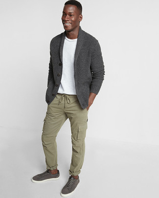 How to wear: charcoal leather low top sneakers, olive cargo pants, white crew-neck t-shirt, charcoal shawl cardigan