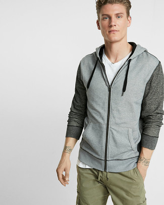 How to wear: olive cargo pants, white v-neck t-shirt, grey hoodie