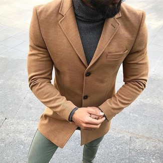 How to wear: olive chinos, charcoal turtleneck, camel overcoat