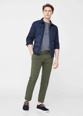 How to wear: black plimsolls, olive chinos, navy and white horizontal striped crew-neck t-shirt, navy puffer jacket