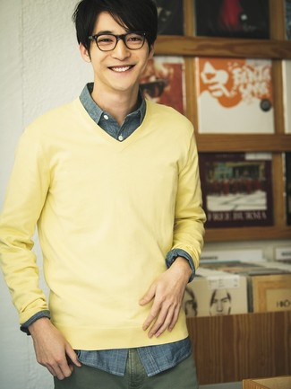 How to wear: olive chinos, navy chambray long sleeve shirt, yellow v-neck sweater