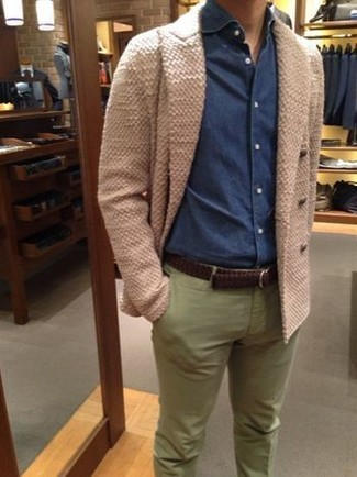 How to wear: dark brown woven leather belt, olive chinos, navy denim shirt, beige double breasted cardigan