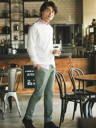 How to wear: black suede desert boots, olive chinos, white and red vertical striped long sleeve shirt, white crew-neck sweater
