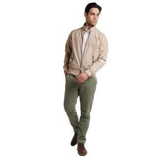 How to wear: dark brown leather desert boots, olive chinos, white crew-neck t-shirt, beige harrington jacket