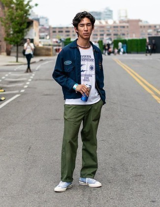 How to Wear a Navy Shirt Jacket For Men: For an effortlessly sleek getup, pair a navy shirt jacket with olive chinos — these two items fit really nice together. For something more on the daring side to finish your outfit, introduce a pair of light blue canvas high top sneakers to this ensemble.