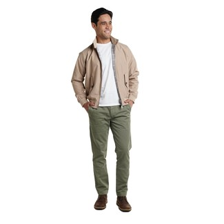 How to wear: dark brown leather desert boots, olive chinos, white crew-neck t-shirt, tan harrington jacket