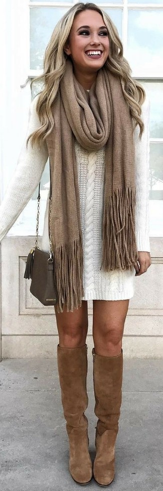 How to Wear Brown Suede Knee High Boots: Wear a white sweater dress for a laid-back and trendy ensemble. When it comes to footwear, this outfit pairs perfectly with brown suede knee high boots.
