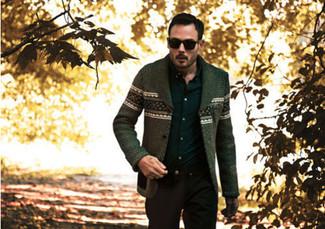 How to wear: olive fair isle cardigan, black long sleeve shirt, black chinos