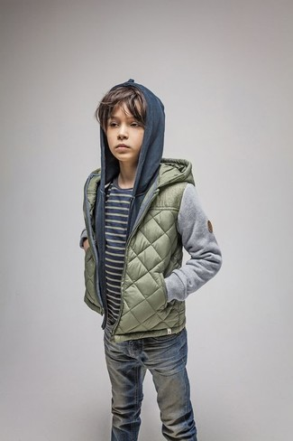 How to wear: olive quilted jacket, navy hoodie, navy horizontal striped t-shirt, blue jeans