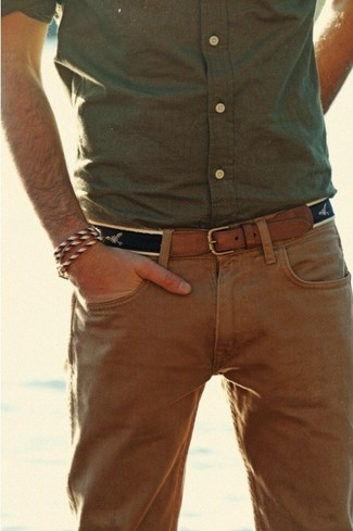 Olive long sleeve shirt khaki chinos brown leather belt large 118