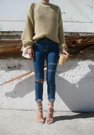 Women S Olive Oversized Sweater Blue Ripped Skinny Jeans Beige